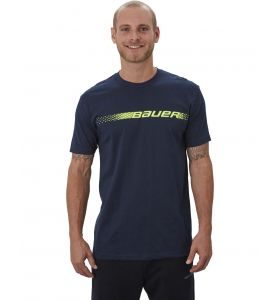 Bauer Graphic SS Crew Tee Heather Navy/Yellow SR